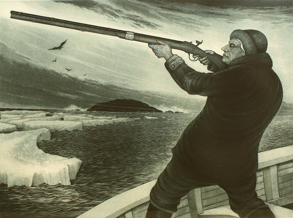 David Blackwood<br>The Seabird Hunter<br>23 x 30<br>Etching<br>1978