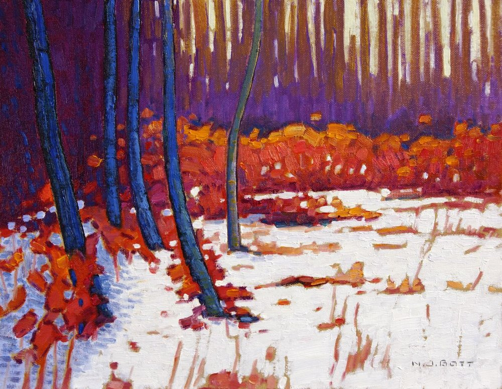 October Snow<br>11 x 14<br>Oil on Canvas<br>SOLD