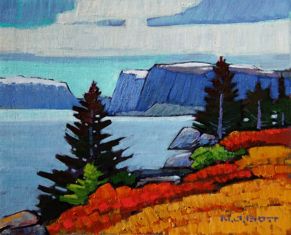 Fjord<br>8 x 10<br>Acrylic on Board<br>SOLD