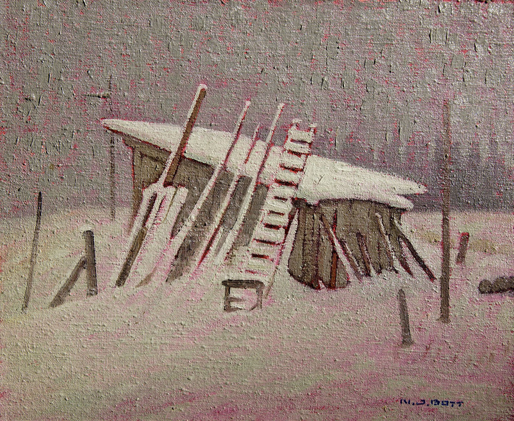 Barn Near Smithers<br>10 x 12<br>Oil on Board<br>SOLD