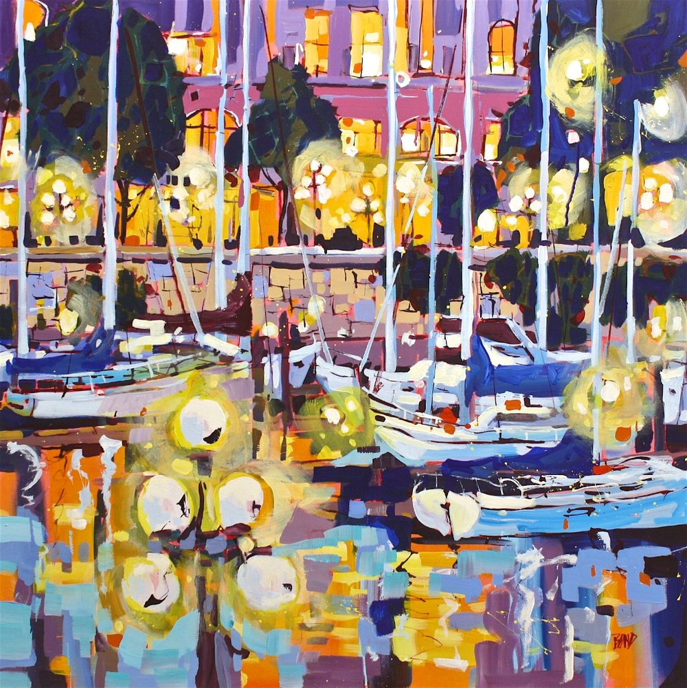 Night Lights<Br>40 x 40<Br>Acrylic on Canvas<Br>SOLD