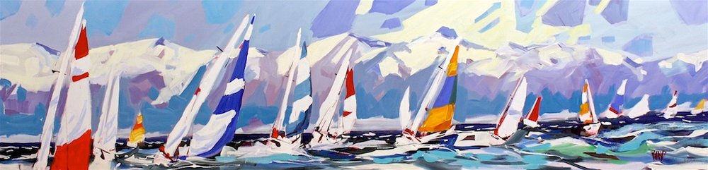 Juan de Fuca Sails<Br>18 x 72<Br>Acrylic on Canvas<Br>SOLD