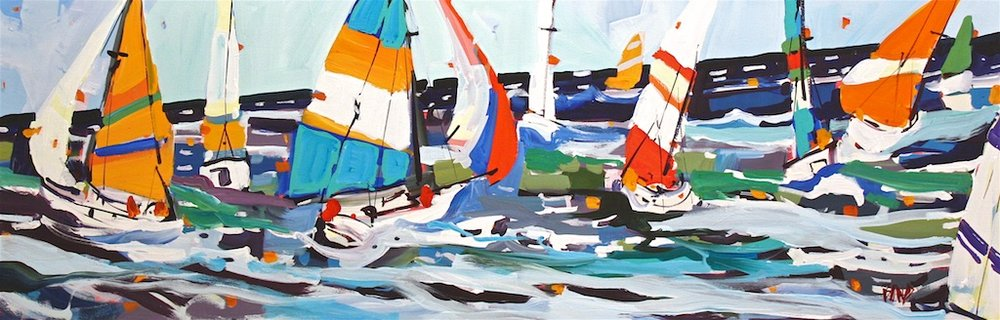 Sailing the Salish Seas<Br>15 x 45<Br>Acrylic on Canvas<Br>$ 2800