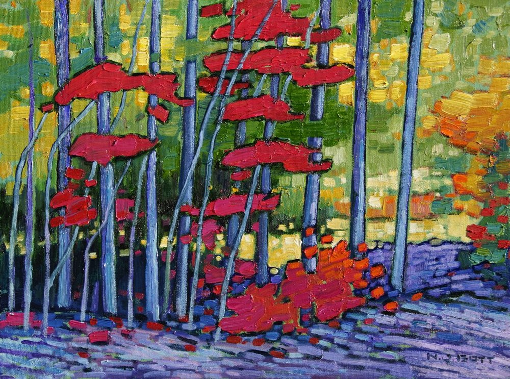 Sanguine Edge of Forest  12 x 16  Oil on Canvas  SOLD