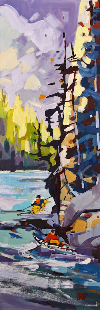 Kayaking  36 x 12  Acrylic on Canvas  SOLD