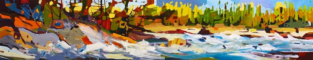 Landing White on Ocean's Shores<Br>12 x 60<Br>Acrylic on Canvas<Br>$ 3100