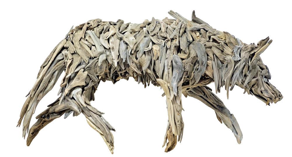 coastal wolf, driftwood, screws, Bronze