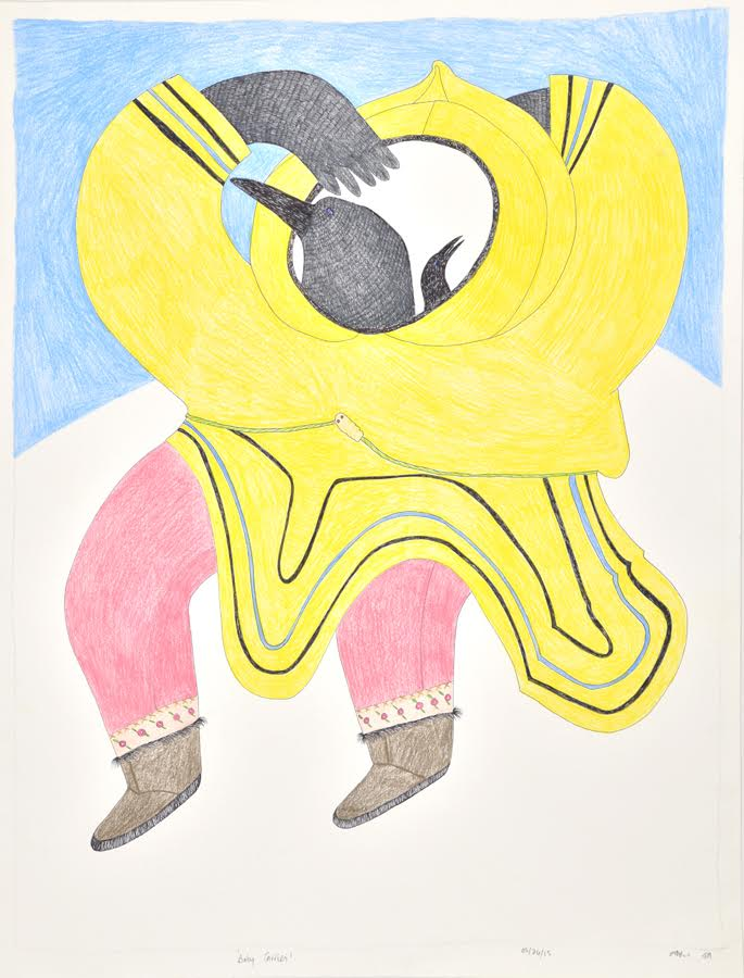 Ningiukulu Teevee <BR> Baby Carrier <Br> 30 x 23 <Br> Graphite, Colour Pencil and Ink <Br> $1950