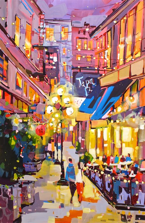 Rick Bond <br> Trounce Alley Nights <br>60 x 40 <br>Acrylic on Canvas <br>$ 6400