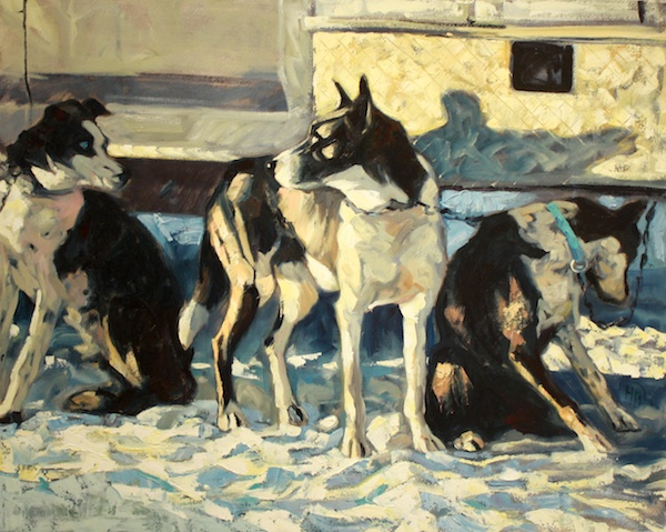 Halin de Repentigny <Br> Three Dogs<Br> 32 x 39 <Br>Oil on Canvas <Br>$ 4300