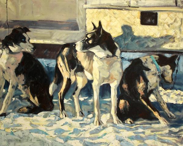 Halin de Repentigny <Br> Three Dogs<Br> 32 x 39 <Br>Oil on Canvas <Br>$ 4300
