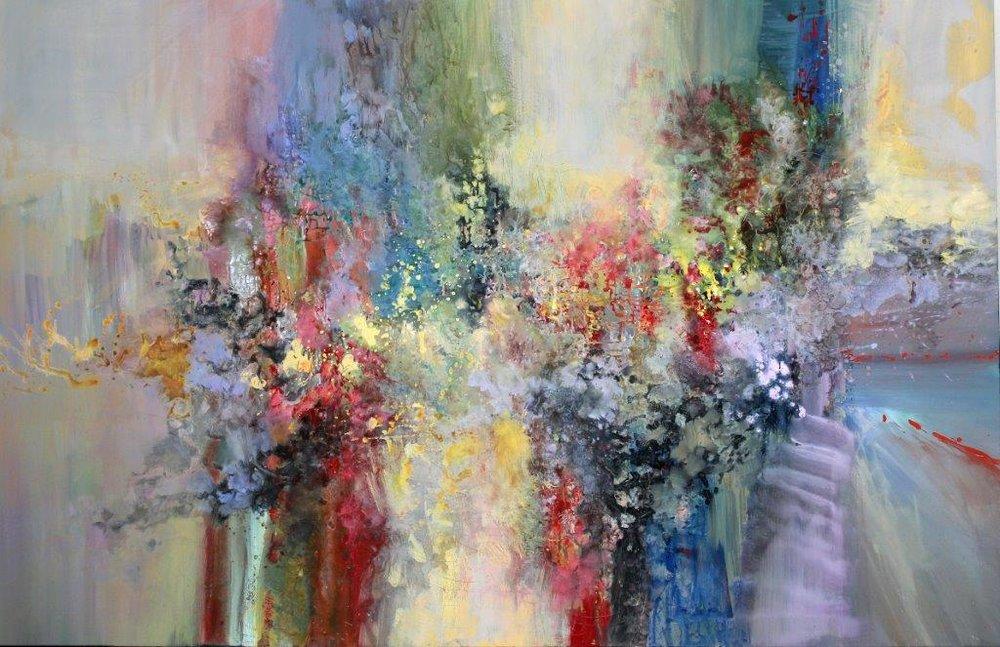 Ernestine Tahedl <br> Dmitri Shostakovitch, String Quartet No. 4, 2017<br> 52 x 80 <br> Acrylic on Canvas  <br>$ 7500