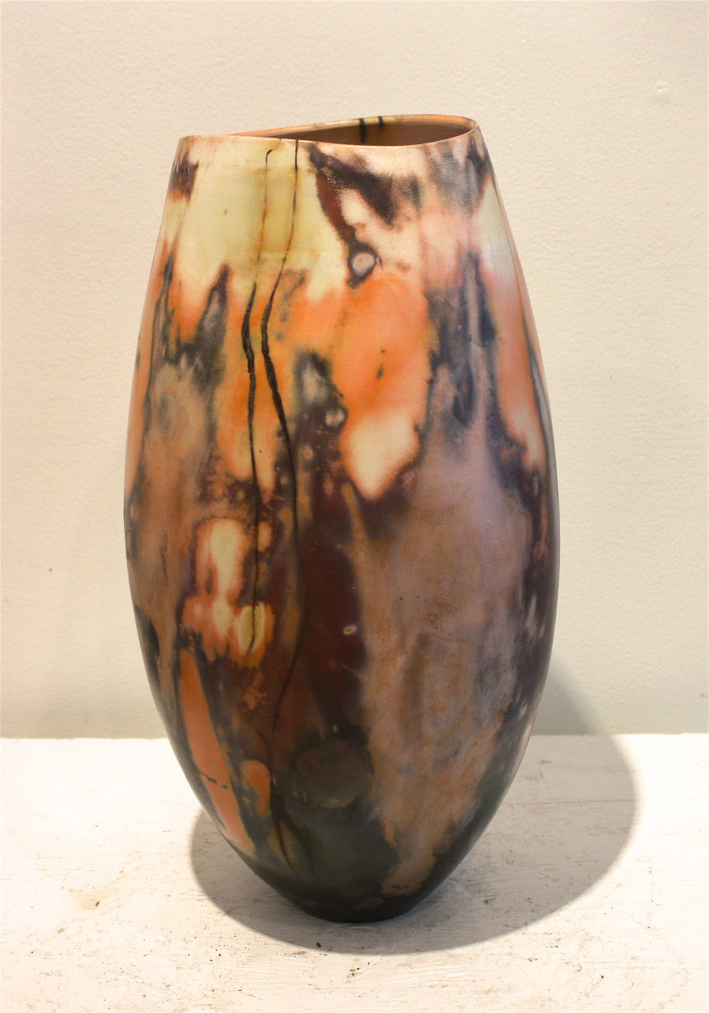Vessel #30 <br> 6 x 6 x 16.5 <br> Saggar - Fired Ceramic <br> sold