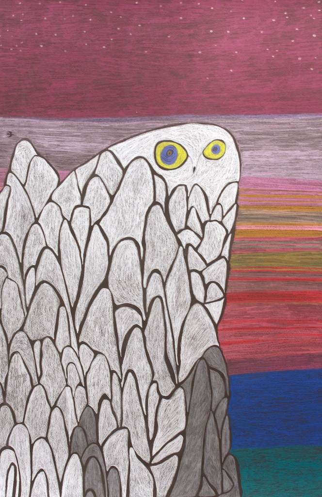Ningiukulu Teevee <br> Raven's Handicraft <br> 44 x30 <br> Coloured Pastel on Paper <br> SOLD