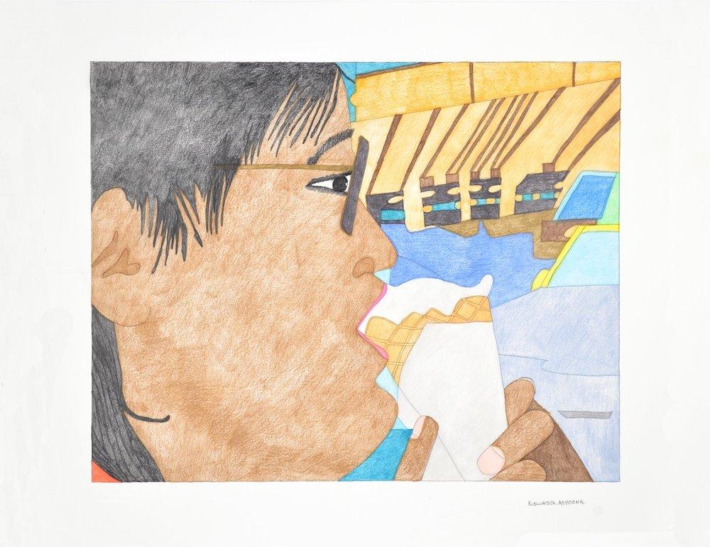 Kudluajuk Ashoona <br> Untitled <br> 23 x 30 <br> Coloured Pencil on Paper <br> SOLD