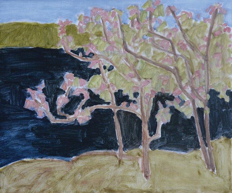Barry Hodgson <Br>White Oak in Flower <Br> 15 x 18 <Br>Oil on Panel<Br> $ 1500