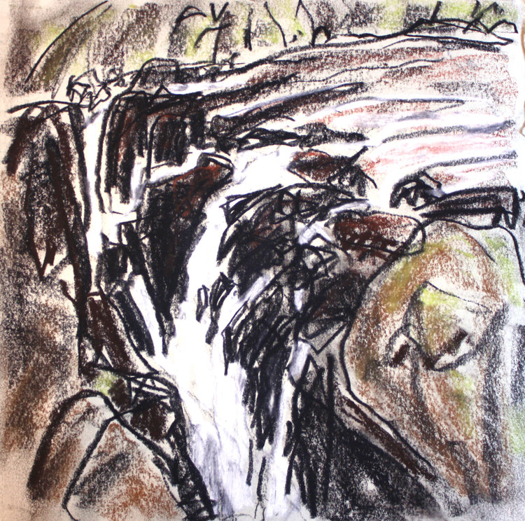 Barry Hodgson <Br> Upper Falls, Englishman River <Br>  10 x 10  <Br>Conte and Pastel on Paper <Br>$ 780