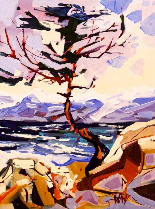 Rick Bond <br> Saltspring Sentinel<br> 16 x 12 <br>Acrylic on Canvas<br> $ 1350