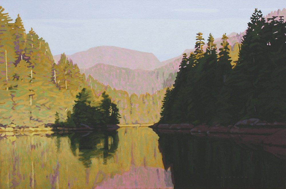 Clayton Anderson <br> Morning Sun - Nootka Sound<br> 24 x 36 <br>Acrylic on Canvas <br>$ 5000