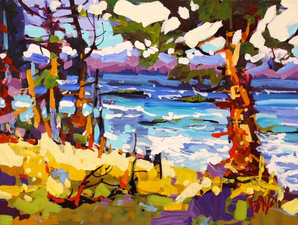 Rick Bond <br> Edge of Island <br> 12 x 16  <br>Acrylic on Canvas <br> $ 1350
