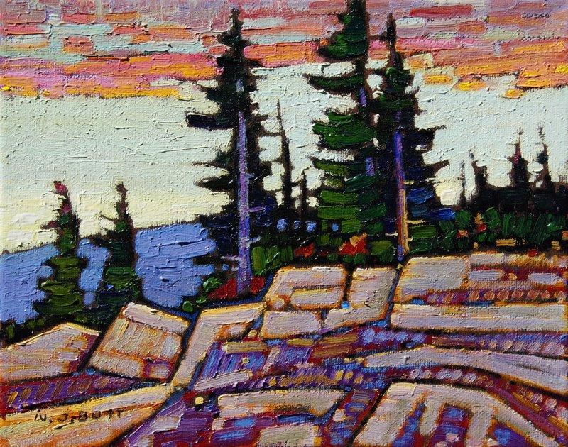 Nicholas Bott <Br> Sunrise Rocky Cliff<Br> 8 x 10<Br> Oil on Canvas<Br> $ 1350