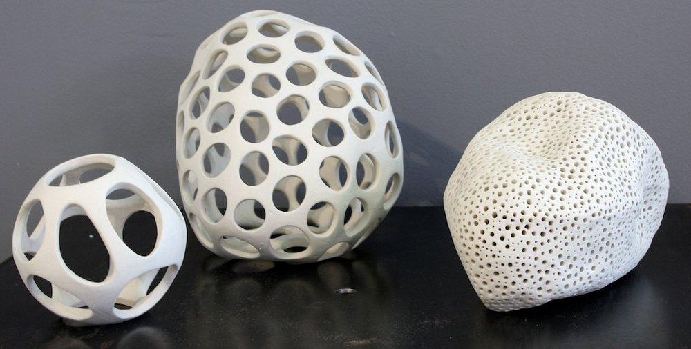 Sam Dickie <Br> Carved Cells  <Br>Dimensions Vary  <Br>Porcelain<Br>  $800- $1100