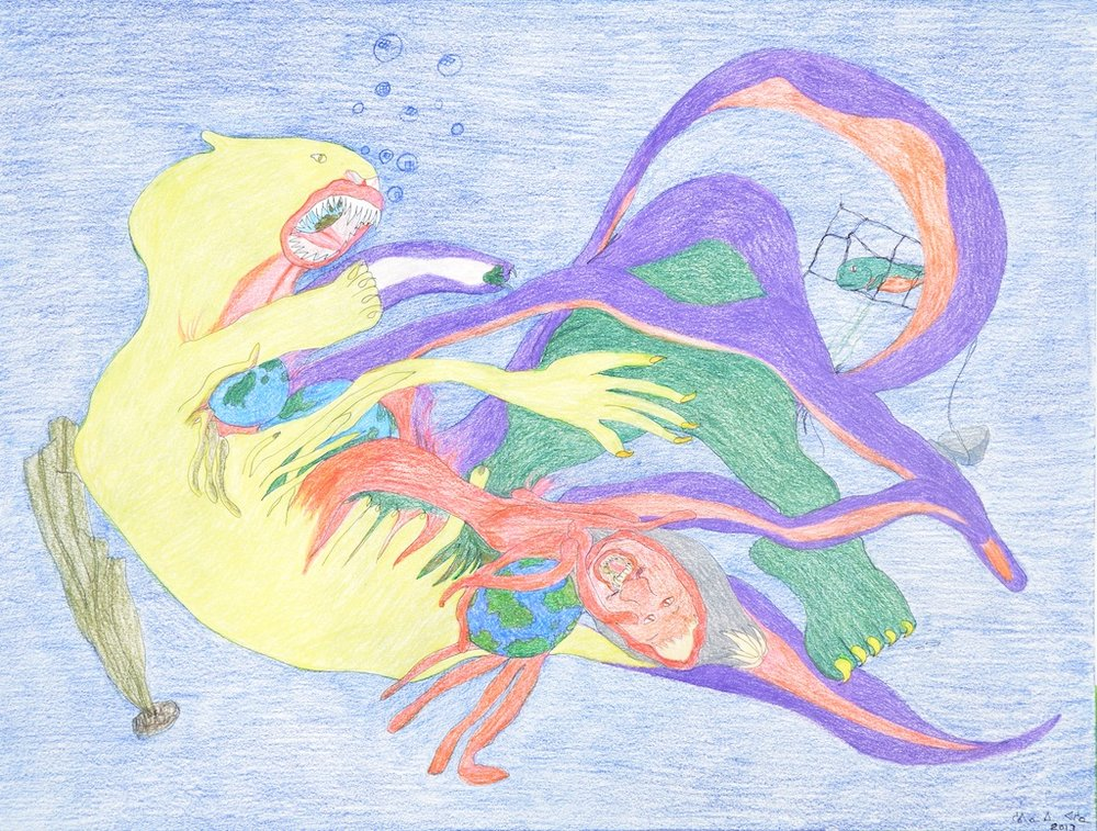 Shuvinai Ashoona <br> Untitled (2091) <br> 23 x 30 <br> Coloured Pencil on Paper <br> $2550