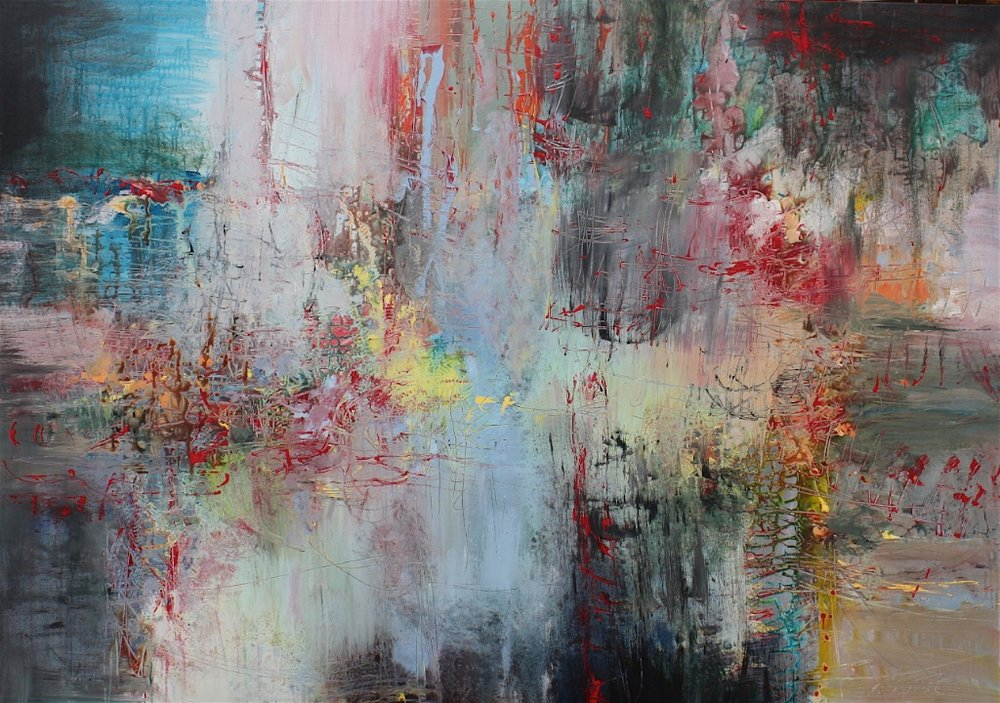 Franz Schubert, String Quartet: Death and the Maiden<Br>46 x 65<Br>Acrylic on Canvas<Br>$ 5600