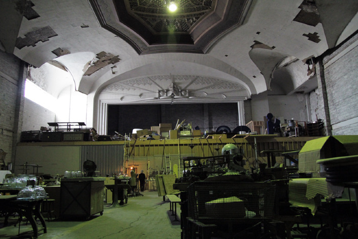 What now remains of the original theater, since converted into warehouse work space.