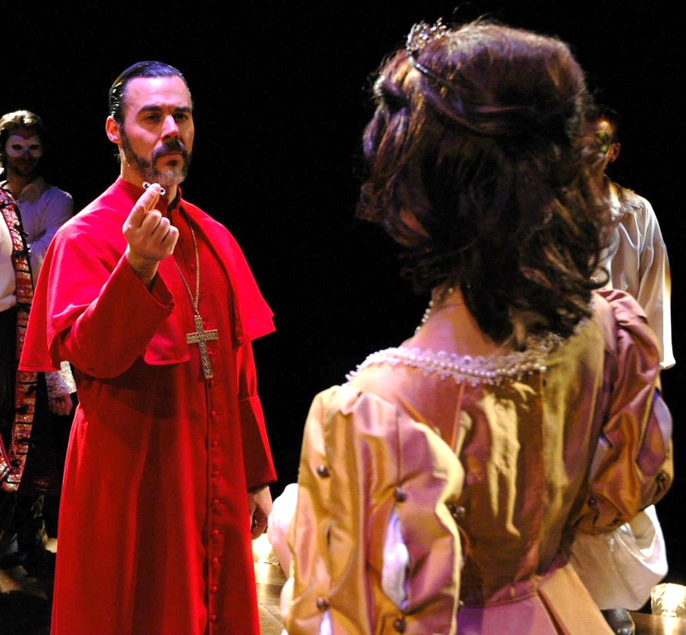 """Cardinal Richelieu"" in THE THREE MUSKETEERS, with Julia Frey Photo by Alexander Burns"