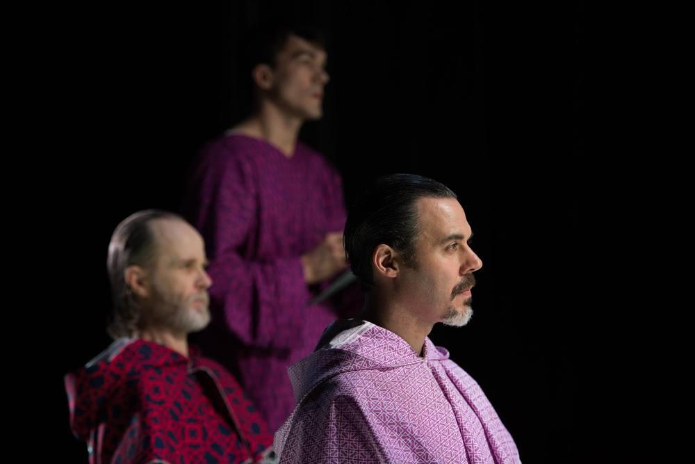 John Basiulis as the Inquisitor, Alan Brincks as Brother Martin, Gregory Isaac as Cauchon (Photo by Shawn May)
