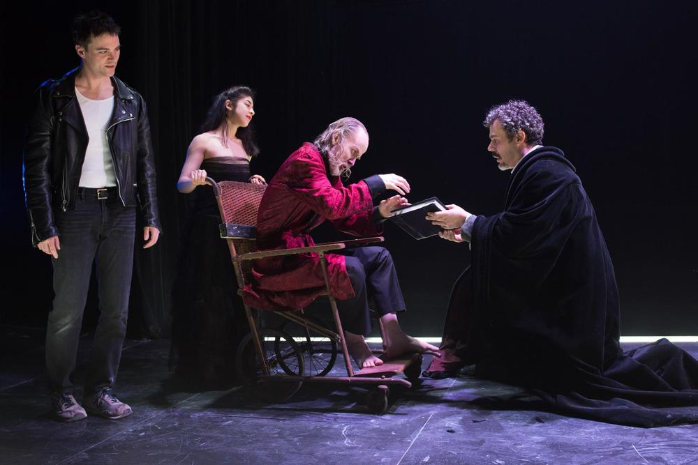Josh Carpenter as Mephistophilis, Leigha Kato as Evil Angel, John Basiulis as Lucifer, Gregory Isaac as Faustus - Photo by Shawn May