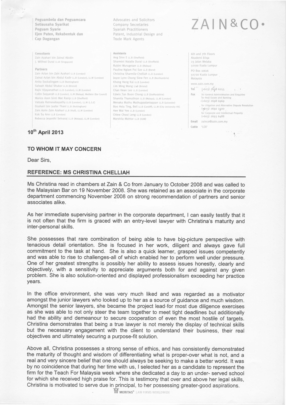 2013 - Legal - Zain & Co - Reference Letter.jpg