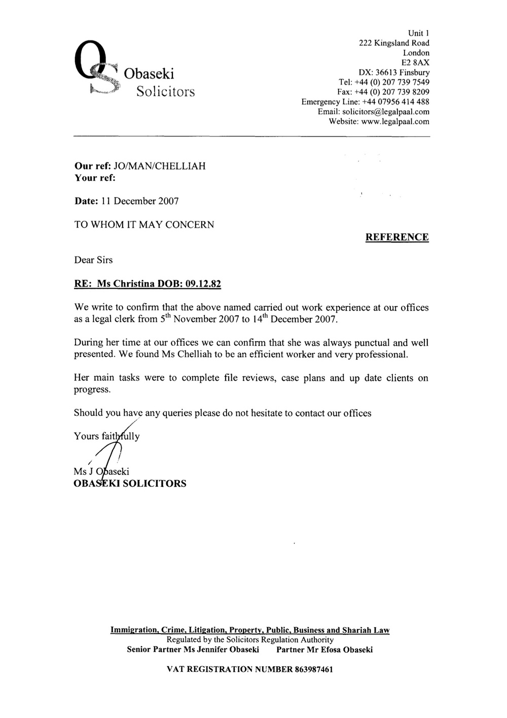 Letter Requesting Legal Information