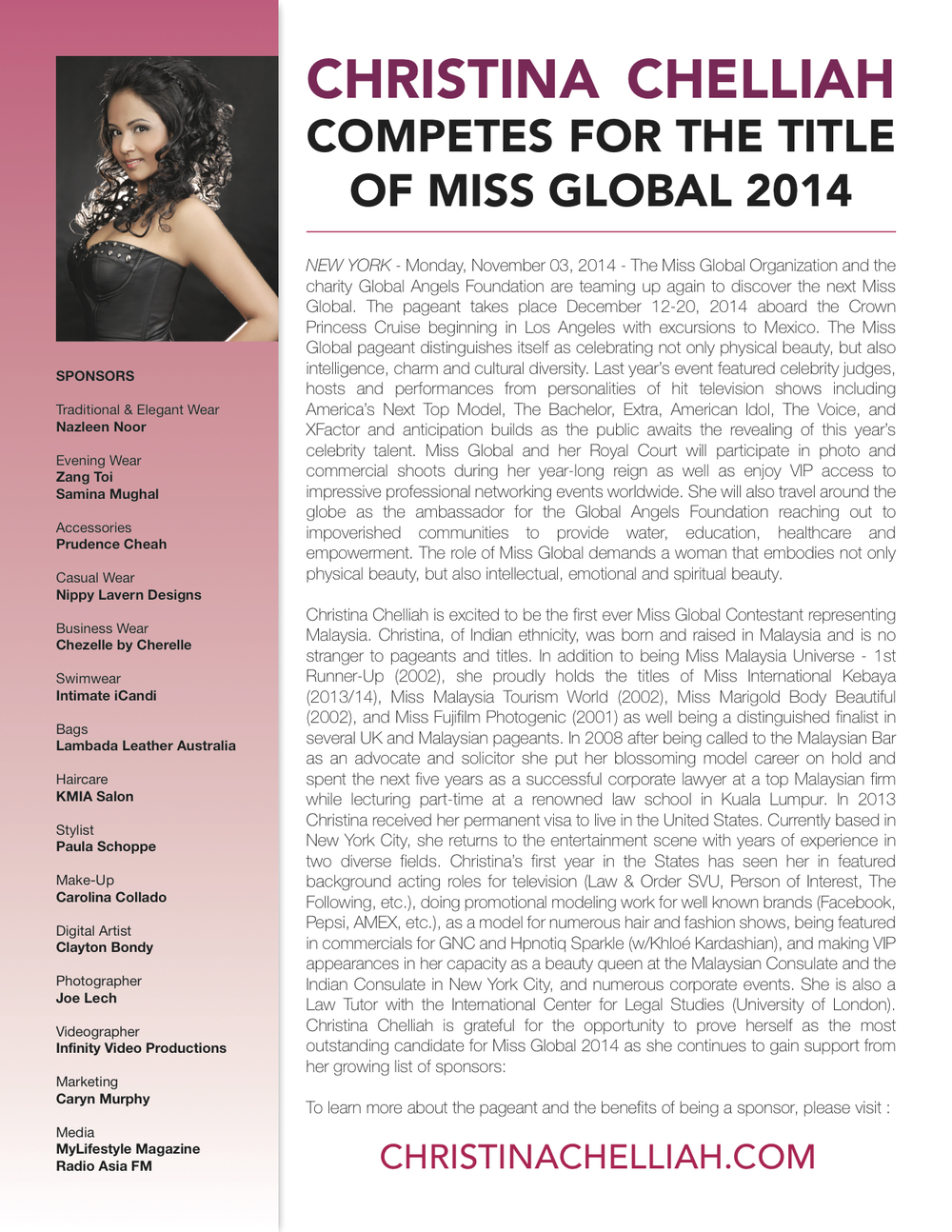 Press Release - Miss Global 2014 Malaysian Candidate Christina Chelliah.jpg