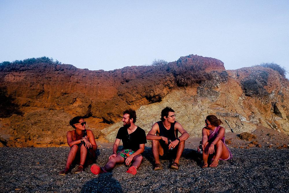 The crew chilling at the beach. (Sabrina, Moritz, Sam and Daniela).