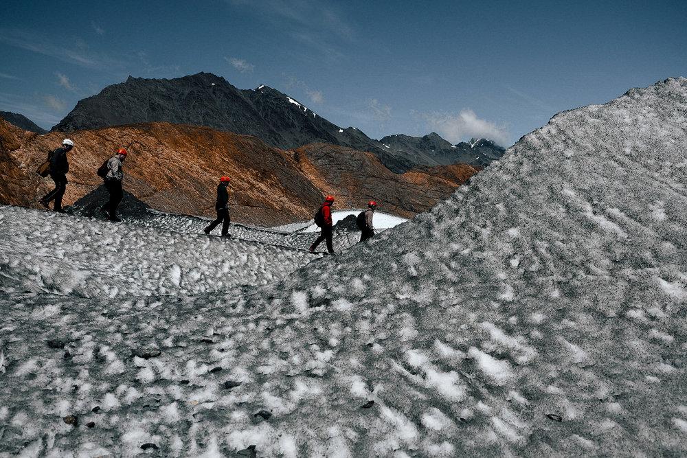 Exploring the glacier.
