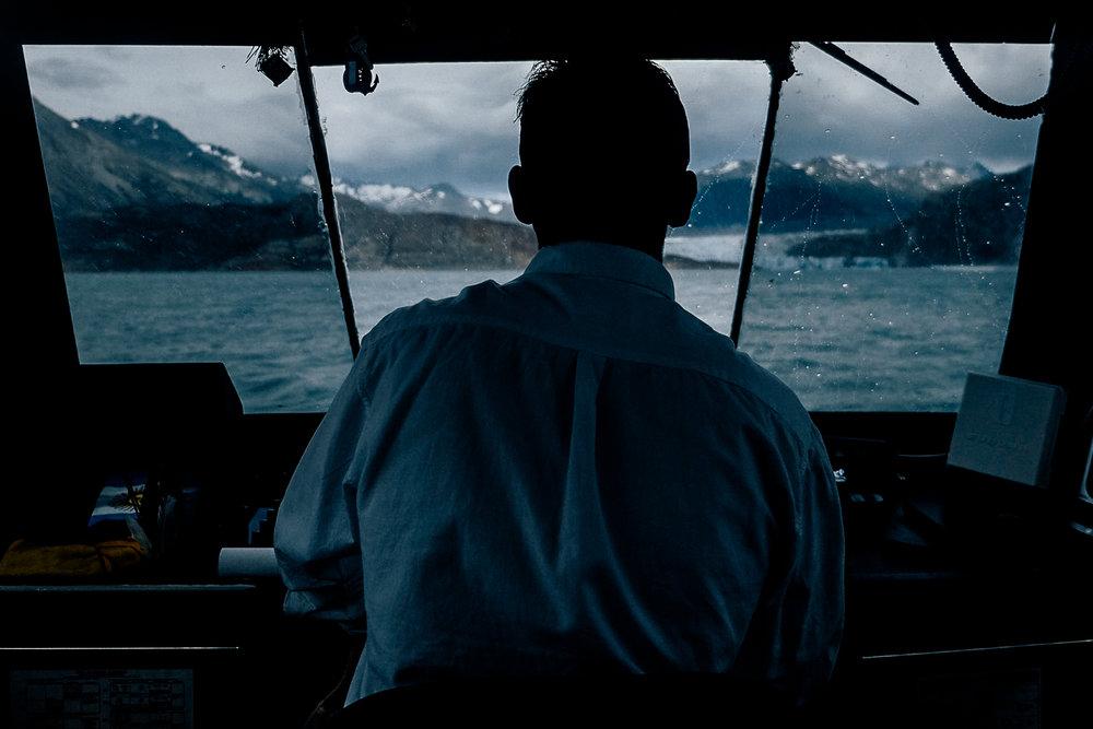 The captain steering us towards glacier Viedma.