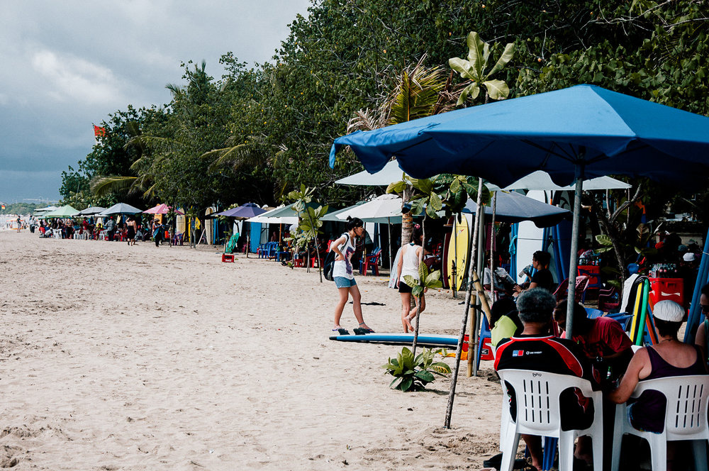 Stalls all the way down the beach.