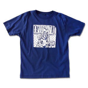 MADÉ J.  PSYCHO HOBO T-SHIRT / MUZAH VAN TRICHT MEN: M-L-XL / 100% COTTON / BLUE
