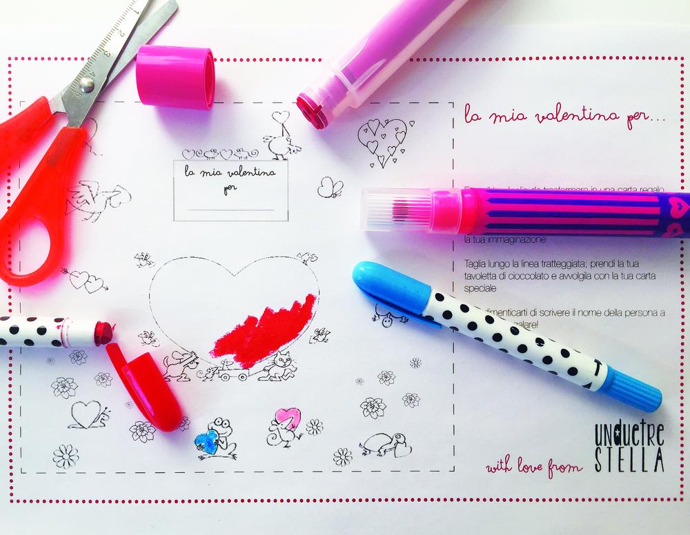 A pochi giorni dalla festa di  San Valentino  un'idea DIY per la tua Valentina: un foglio da trasformare in una carta regalo unica e speciale! Scarica l'immagine qui sotto e scatena la tua fantasia!