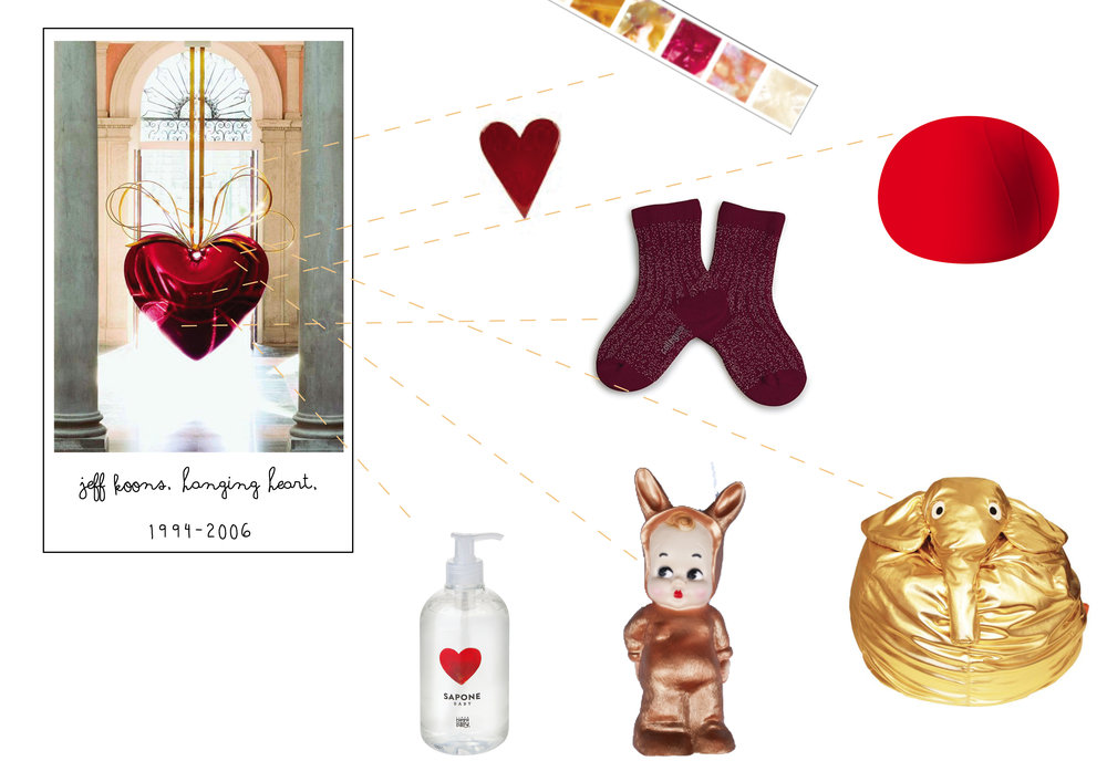scotch by    MT masking tape   , ceramic heart by    MV% Ceramics Design   , lurex socks by    Collégien   , Baloon pouf by    Nidi   , golden pouf by    Il saccotto   , bronze lapin lamp by    Lapin & me   , Baby Soap by    Linea MammaBaby