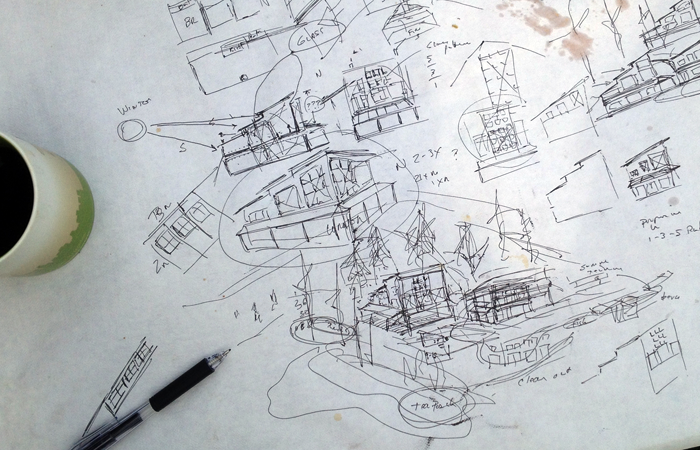 the scribbles that lead to another design of a logo/store design session for a pastry chef on a picnic table - (c) mjs 2014