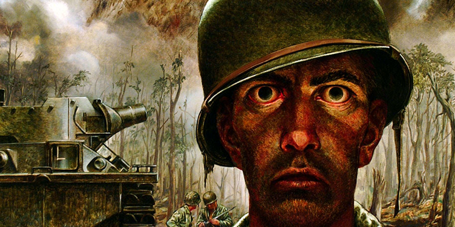 Portion of full image © 1944 Thomas Lea – the 2,000 yard stare