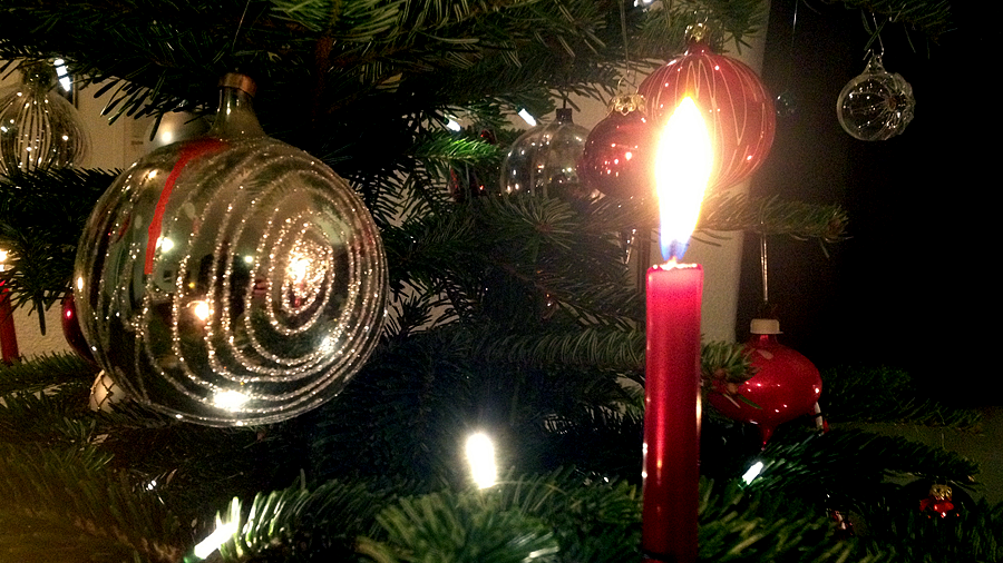 candle on the christmas tree (c) mark somple 2014