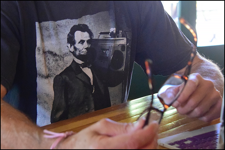 "abe lincoln ""beats not bombs"" t-shirt (c) mark somple 2017"