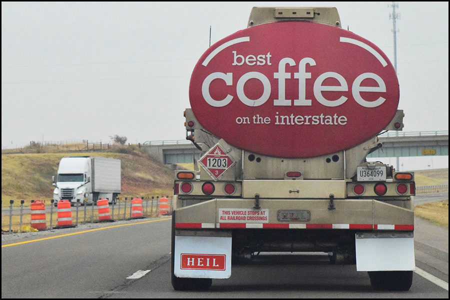 alas, it was simply and advertisment, not a coffee refilling truck  (c) mark somple 2017