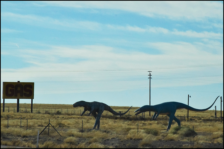 dino's running to a gas station for fuel (c) mark somple 2017