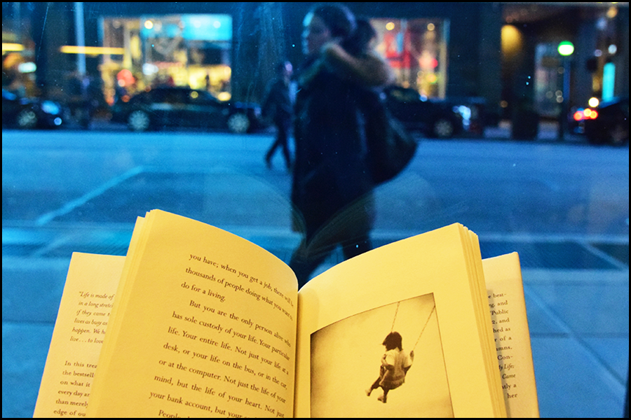 """someone left a book in the cafe, """"a short guide to a happy life"""" by anna quindlen - (c) mark somple 2018"""