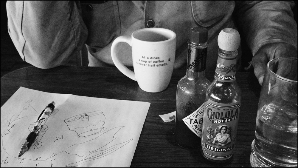 i didn't take a photo of the turkey…here is my artist friend in the west sharing a coffee and some hot sauce last week (c) mark somple 2018